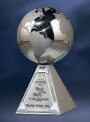 "Stainless Steel Worldly Reflections Award - Sizes: 8""H, 9""H"