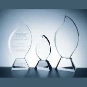 "Crystal Flame Award - Sizes: 9 7/8""H, 11 3/8""H, 12 3/4""H"