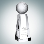"Crystal Champion Tennis Trophy is available in three different sizes. 6"" Height, 7"" Height, and 8"" Height."