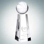 "Crystal Championship Basketball Trophy is available in three different sizes. 6"" Height, 7"" Height, and 8"" Height."