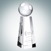 "Crystal Championship Soccer Trophy is available in three different sizes. 6"" Height, 7"" Height, and 8"" Height."
