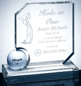 "Crystal Hole In One Award, Sizes: 6""H"