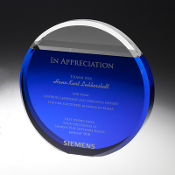 "The Crystal Blue Sky Award is available in two sizes. 5 3/4""Height and 7""Height"