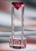 Sky Diamond Crystal Award - Available in 5 different colors: Red, Amber, Blue, Green, and clear