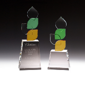 "Crystal Amber Green Award - Avaiable in 2 sizes: 9 3/4""H and 11 3/4""H"