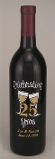 Celebrating 25 Years Personalized Etched Wine Bottle