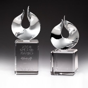 "The Crystal Solid Flame Award comes in two different sizes. 7 3/4""Height and 8 3/4""Height"