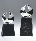 "The Crystal Oasis Award is Available in two sizes. 8""Height and 10""Height"