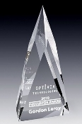 "Crystal Zenith Flame Award is available in two different sizes. 9""Height and 10 1/2""Height"