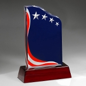 "Bigheadawards.net is proud to offer the Acrylic American Spirit Award on rose wood base with Free Engraving and No Setup Fees., Sizes: 8""H, 9""H, 10""H"