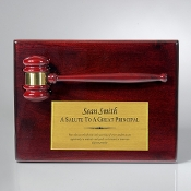 "Bigheadawards.net is proud to offer the Rosewood gavel Plaque with Free Engraving and No Setup Fees., Size: 10 1/2""H"