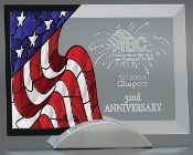 "Jade Glass American Flag Award, Sizes: 7""H"