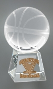 "Crystal Basketball on Base Trophy is available in 5"" Height"