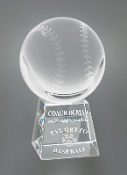 "Crystal Baseball on Base Trophy is available in 5"" Height"