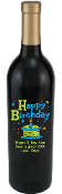 Birthday Cake Green Personalized Etched Wine Bottle