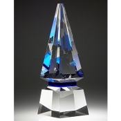 "The Blue Spire Crystal Award is available in 10 3/4""Height"