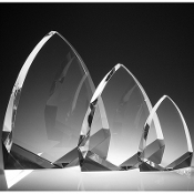 "The Crystal Cathedrale Award is available in 6 3/4""Height, 8 3/4""Height"