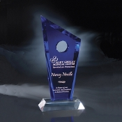 "The Half Moon Bay Crystal Award is available in 11""Height"