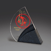 "Bigheadawards.net is proud to offer the Textured Black with Clear Acrylic Award with Free Engraving and No Setup Fees. Size: 7 1/2""H,"
