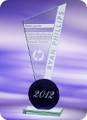 "Jade Glass Exclaim Award, Sizes: 10 1/4""H"